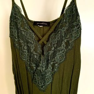 Green Bodysuit with Lace Detail